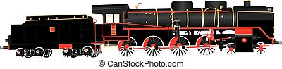 A Heavy duty Red and Black Twelve Wheeler Steam Tender Locomotive with brass fittings isolated on white