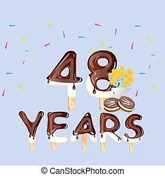 48th Years Happy Birthday card