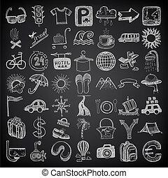 49, ensemble, griffonnage, voyage, main, backgraund, thème, noir, dessin, icône