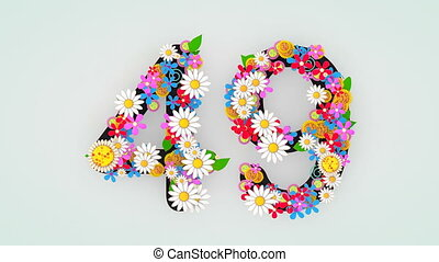 """49."""", floral, animation, """"numerical, chiffre"""