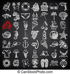 49 hand draw sketch summer icons collection on black background