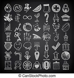49 hand drawing doodle icon set