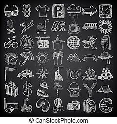 49 hand drawing doodle icon set, travel theme on black ...