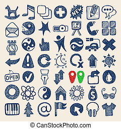 49 hand drawing doodle web icons collection