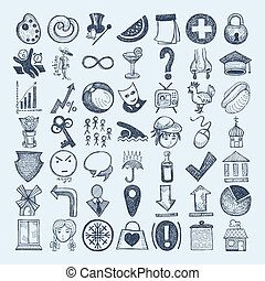 49 hand drawing icon set - 49 hand drawing doodle icon set