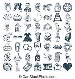 49 hand drawing icon set