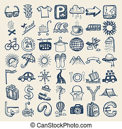 49 hand drawing icon set, travel theme - 49 hand drawing...