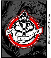49 HAND GUN - two hands holding a gun. vector hand drawing, ...