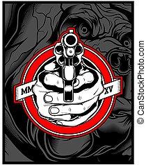 49 HAND GUN - two hands holding a gun. vector hand drawing, ...