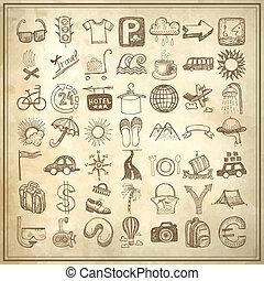 49, set, scarabocchiare, viaggiare, mano, tema, disegno, icona