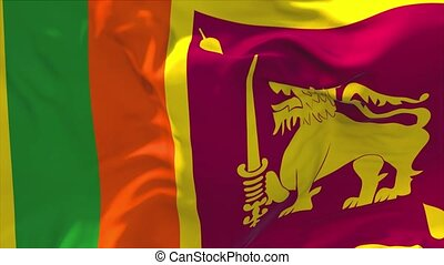 49. Sri Lanka Flag Waving in Wind Continuous Seamless Loop Background.