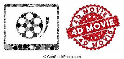 4d, 映画, ビデオ, textured, 巻き枠, 切手, 電話, コラージュ