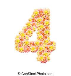 4,flower alphabet isolated on white