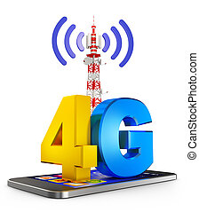 4G and smartphone - 4G on the smartphone and a ...