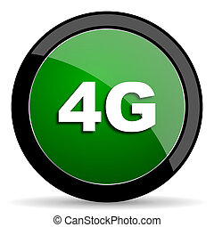 4g green web glossy icon with shadow on white background