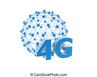 4g network cage ball isolated on white background