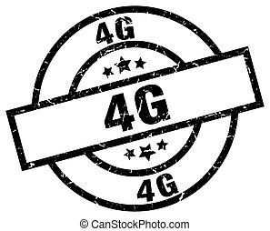 4g round grunge black stamp