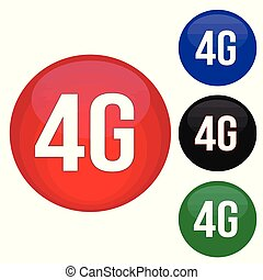 4G round website glossy buttons set