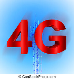 4G symbol with mobile telecommunication tower background