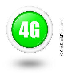 4g, symbool, schaduw, telecommunicatie