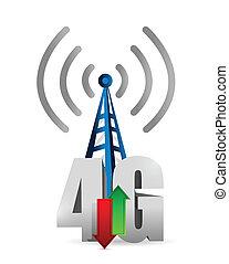 4g, torre, disegno, collegamento, illustrazione