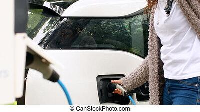 4k, électrique, femme, station, voiture, charger