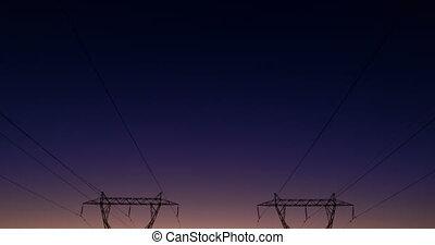 4k, électrique, pendant, polonais, coucher soleil