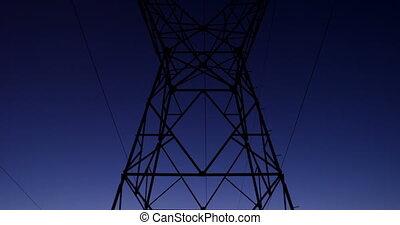 4k, électrique, poteau, pendant, tension, coucher soleil,...