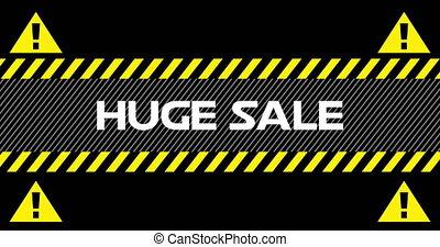 4k, énorme, vente, signes, rubans, industriel, texte, entre...