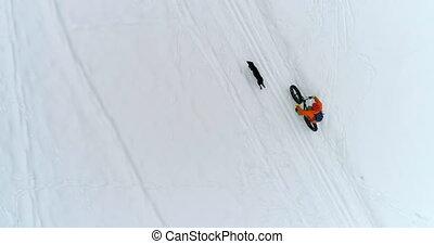 4k, śnieżny, człowiek, powierzchnia, pies, kolarstwo
