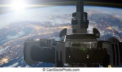 4k, ζωντάνια , από , ένα , ακαταλαβίστικος , διαστημόπλοιο , ιπτάμενος , μέσα , διάστημα