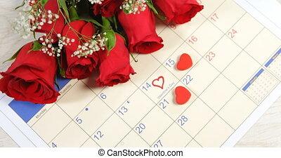 4k, календарь, показ, roses, красный, букет, 14-я, февраль