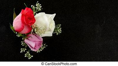 4k, красный, белый, roses, поверхность, черный, букет,...