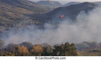 4k, отдел, истребитель, вертолет, природа, крайняя необходимость, за работой, огонь, спасти