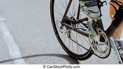 4k, 길, 시골, 연장자, 자전거 타는 사람, 순환