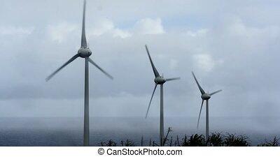 4K, 3 Windmills, Wind Turbines, Win - Wind Energy Power...