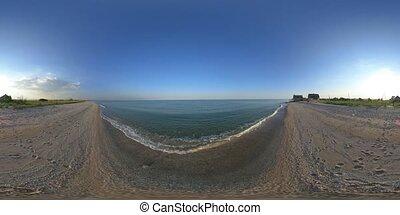 4K 360 VR Virtual Reality Sunny sunset on the Sea of Azov