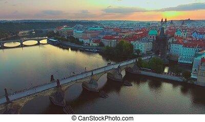 4K 3840x2160 Czech Republic Prague Aerial Flying low around...