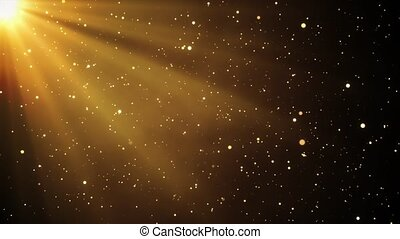 4K 3D abstract Golden flare light beam. smoke dust particle abstract Loop background. motion titles cinematic event, concert, festival, show, Awards, fashion, Festival, night, club, stage Animation.