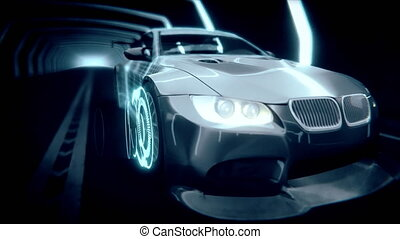 4k 3d animation of a futuristic car with