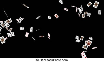 4K 3D Falling poker cards aces only in a loop with depth of field. Playing cards falling Alpha Green background.