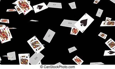4K 3D Falling poker cards aces only in a loop with depth of field. Playing cards falling Alpha Green background. Casino, Gambling, Chips, Poker, Blackjack, Ace, Betting, Playing Cards, Cards, Gaming.