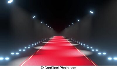 4k 3D red carpet and blinking lights animation - event/ premiere concept
