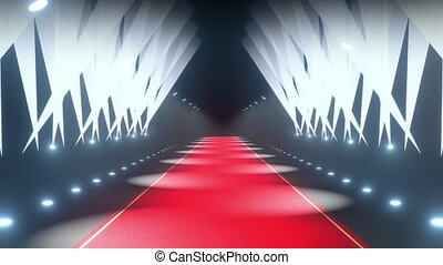 4k 3D red carpet and stage lights animation - event/ show concept