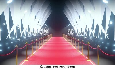 4k 3D red carpet, barriers, flash lights and stage lights ...
