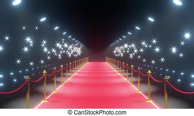 4k 3D red carpet, barriers, flash lights animation - show/ ...