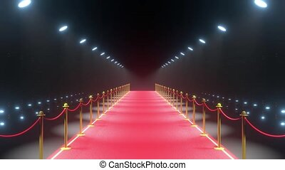 4k 3D red carpet, barriers with rope and blinking lights animation - event/ show concept