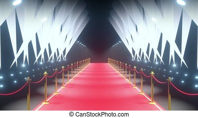 4k 3D red carpet, barriers with rope and stage lights animation - event/ show concept