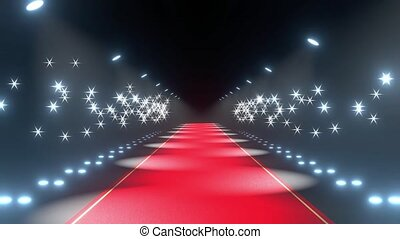 4k 3D red carpet, blinking lights and flash lights animation - show/ gala concept