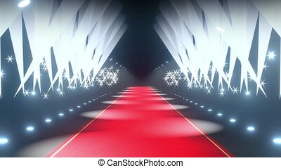 4k 3D red carpet, flash lights and stage lights animation - ...